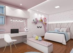 Youth room design and decoration, perfect comfort to implement in their homes 💝 Cute Room Decor, Cute Bedroom Ideas, Girl Bedroom Designs, Bedroom Themes, Girls Bedroom, Bedroom Decor, Girls Room Design, Teen Bedrooms, Bedroom Modern