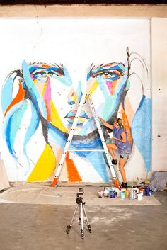Anya Brock painting at the Wolf Lane carpark for PUBLIC in Perth.