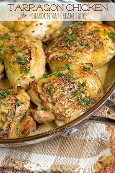 Tarragon Chicken with Chardonnay Cream Sauce | bakeatmidnite.com | #chicken #chardonnay #recipe