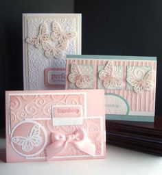 hand crafted cards fro CraftMadly Making Cards ... three lovely cards with punched butterfly ... pink and white ... beautiful cards!!