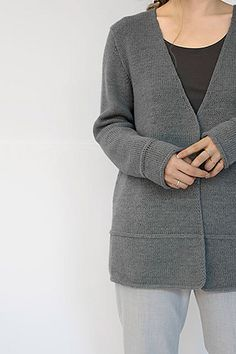 Knit with two strands of Cima, Lineal is an ultra soft and versatile cardigan. Parallel I-cord rows anchor the bottom hems while an angled neckline provides modern flair.