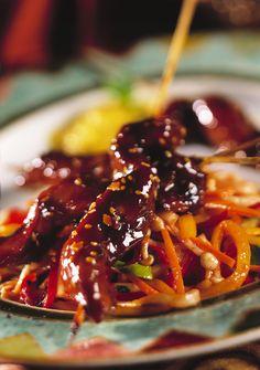 Hoisin Barbecue Duck Satays with China Town Salad  Mango Vinaigrette