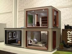 Dollhouse Room Designs | stackable room boxes, smaller scale but lovely idea | dollhouse ideas