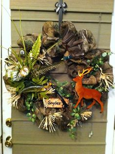 Hunting fishing wreath