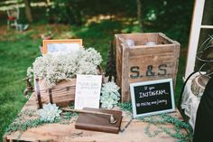Babys breath, succulents, vintage boxes and a hashtag. Does it get any better?