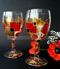 Hand painted wine glasses. Wine glass art. by InspirationsArtGlass