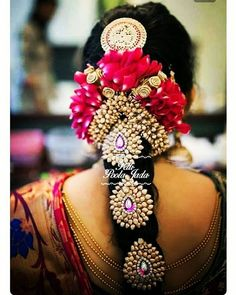 TBG Bridal Store is popular for their amazing Poo Jadai work. Choose the design you like, flowers you love and your favourite colours and we will deliver the best Poo Jadai Design. South Indian Bride Hairstyle, Indian Wedding Hairstyles, Bride Hairstyles, Hairstyle Ideas, Hair Ideas, Engagement Hairstyles, Bridal Hairdo, Bridal Bun, Bridal Makeover