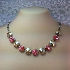 New Swarovski Rivoli Golden Shadow/Rose by HisJewelsCreations