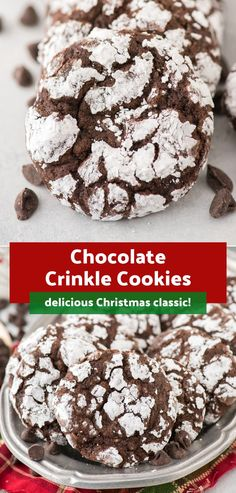 Chocolate Crinkle Cookies Many people have asked for this classic Christmas coo. Chocolate Crinkle Cookies Many people have asked for this classic Christmas cookie – these Choco Chocolate Chip Shortbread Cookies, Toffee Cookies, Chocolate Crinkles, Chocolate Marshmallows, Spice Cookies, Yummy Cookies, New Year's Desserts, Christmas Desserts, Christmas Cookies