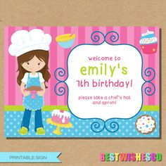 Baking Party Printable Sign Extra Large Sign by BestWishesCo