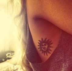 Small sun and moon tattoo black ribs ✌