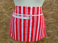 Red and white vertical stripe Market Trader Money pocket / Vendor money apron. Service apron. Waitress apron. Cafe apron. by LDCcreations on Etsy