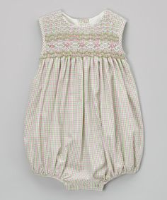 Another great find on #zulily! Pink & Green Check Smocked Bubble Romper - Infant by BeMine #zulilyfinds