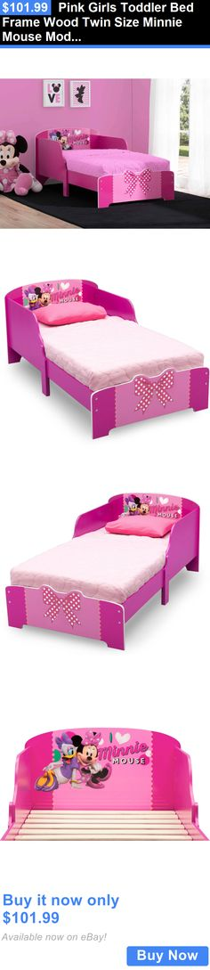 Kids at Home: Pink Girls Toddler Bed Frame Wood Twin Size Minnie Mouse Modern Kids Bedroom BUY IT NOW ONLY: $101.99