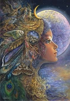 moon goddess Fantasy Paintings by British artist Josephine Wall. From childhood Josephine has had a passion for light and colour, fantasy and visual story Josephine Wall, Fantasy Kunst, Fantasy Art, Fantasy Paintings, Wall Paintings, Moon Goddess, Goddess Art, Wow Art, Gods And Goddesses