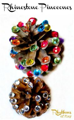 Rhinestone pinecones are a fine motor activity for kids and a fun nature craft for adults. They can be made into ornaments, used to make a pinecone garland, or used in home decor.