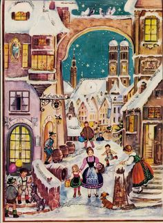 Made in West Germany Advent Calendar Winter Street Scene w/ Glitter Closed Doors