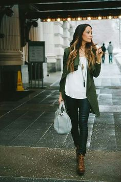 #green coat #skinny jeans #brown boots