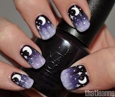Moon & stars themed nail art