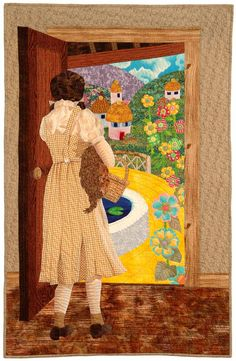 """Not in Kansas Anymore"" by Chris Sommerfelt.  Wizard of Oz, Dorothy and Toto, portrait quilt, Milwaukee Art Quilters"