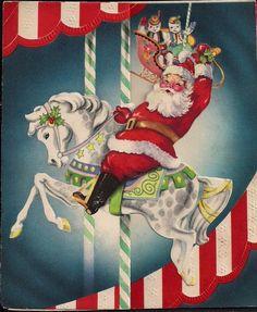 Christmas  Merry Go Round Carousel Santa