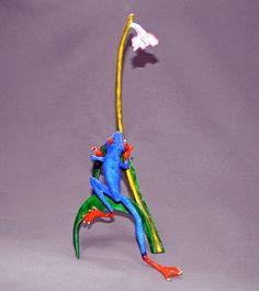 GORGEOUS BRONZE FROG Figurine Statue Sculpture Art  / Limited