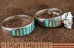 Silver Turquoise And Opal Inlay Wedding Band Ring Set