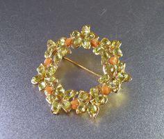 Swoboda Coral Peridot Wreath Brooch by LynnHislopJewels on Etsy