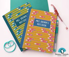 A5 personalised notebook with pencil pattern. Perfect teacher gift present. Pre-school gift. Bullet journal, jotter, sketchbook. Personalized Notebook, School Gifts, Pre School, Teacher Gifts, Pencil, Bullet Journal, Presents For Teachers, Teacher Appreciation Gifts