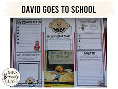David Goes to School book study companion pack perfect for the beginning of the school year. Common Core aligned. Fun literacy activities and guided reading ideas for K-1. #bookstudy #literacy #guidedreading #backtoschool #1stgrade #kindergarten #bookstudies #bookcompanion #bookcompanions #1stgradereading #kindergartenreading 1st Grade Activities, Back To School Activities, Literacy Activities, First Grade Classroom, Classroom Behavior, Back To School Pictures, Beginning Of The School Year, Book Study, Character Education