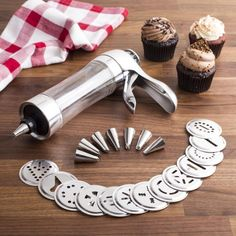 KSP Perfect Cookie Press & Icing Gun - Set of 22 (Stainless Steel) available for sale at the best price at Kitchen Stuff Plus your Cookie Cutters & Presses store. Decorating Tools, Cake Decorating, Cookie Exchange Party, Cookie Press, Cupcake Cakes, Kid Cakes, Cupcakes, Cake Business, Perfect Cookie