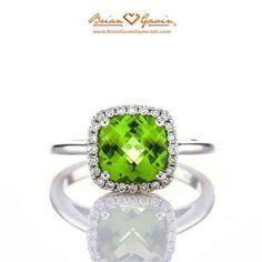 Brian Gavin Diamonds Cushion Peridot Halo Ring #BGD