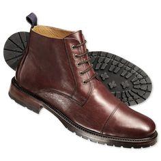 Burgundy Pendley toe cap boots | Men's boots from Charles Tyrwhitt | CTShirts.com