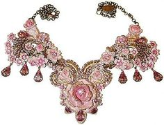 Michal Negrin Pink Lilac Victorian Style Rose Crystals Lace Necklace