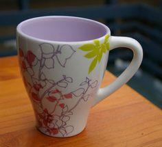 Starbucks Coffee Company 12oz 2007 Flowers & Butterfly Floral Mug Purple Inside  | eBay