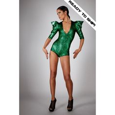 Ready to Ship Bodysuit in Green Hologram Dance Stage Wear Poison Ivy... ($275) ❤ liked on Polyvore featuring intimates, shapewear, bodysuits, grey and women's clothing