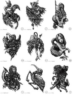 mirusoup: omg… Illustrations of the 72 demons featured in the Lesser Key of Solomon's Ars Goetia. Mythological Creatures, Mythical Creatures, Types Of Demons, Demon List, King Solomon Seals, Demon Book, Myths & Monsters, Beast Creature, Fire Tattoo