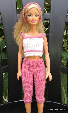 Free knit barbie doll clothes patterns knitting pattern baby lyns dolls clothes barbie knitted capri pants and cropped top to fit barbie latest model free knit dt1010fo