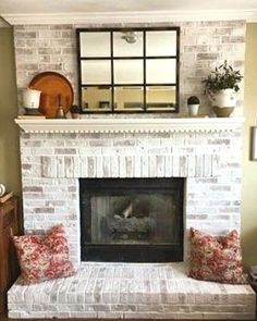 ROMABIO Classic Lime wash is a slow-set, slaked-lime paint that is specially formulated to create antique wash-off effects for Interior and Exterior brick, stone and other masonry surfaces. White Wash Brick Fireplace, Painted Brick Fireplaces, Paint Fireplace, Brick Fireplace Makeover, Farmhouse Fireplace, Cozy Fireplace, Fireplace Design, Brick Fireplace Remodel, Brick Fireplace Decor