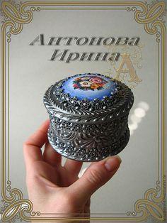 "Шкатулка-""Финифть"" - серебряный,шкатулка,шкатулка для украшений,шкатулка декупаж"