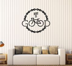 Vinyl Wall Stickers Bike Boy Room Bicycle Chain Quote Mural Decal (223ig)