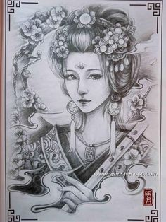 Chinese beauty Chinese tatoo design book for adult Small Japanese Tattoo, Japanese Tattoo Designs, Body Art Tattoos, Girl Tattoos, Sleeve Tattoos, Japanese Geisha, Japanese Art, Sak Yant Tattoo, Tatoo Designs