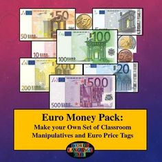 Euros:  Play Money, Euro Manipulatives, and Activities for the world language classroom  #euros