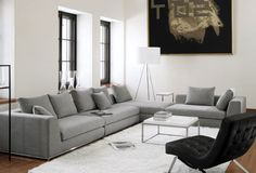 Love all the clean lines and grey tones Living Area, Living Room, Inviting Home, Modular Sofa, Its A Wonderful Life, Decoration, Home Furniture, Sweet Home, New Homes