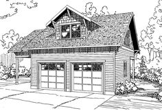 Garage Plan 20-111 - This Craftsman garage plan can house two cars, plus one extra in the attached carport. Up stairs there is a recreation room with a full bathroom and storage room.