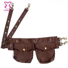 Couro marrom Steampunk cinto bolso / Utility correia do espartilho Burlesque Costume acessórios Gothic roupas bolso bolsa de cintura sacos em Bustiês e Espartilhos de Roupas e Acessórios no AliExpress.com | Alibaba Group