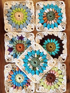 "Ravelry: Sunburst Granny Squares. You can make 6"" with the pattern. These are just 4 1/2"", using rounds 1-4 and kitchen cotton. Free crochet pattern."