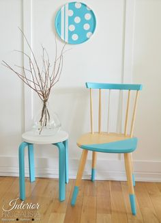 Aqua Beechwood Color Blocked Chairs with painted IKEA Bentwood Stool | The Interior Frugalista