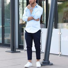 Light blue shirt navy trouser and #sneakers by @louisdarcis  [ http://ift.tt/1f8LY65 ]