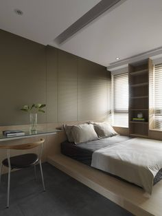 Interior designed Light and Shadows, a contemporary apartment where the light enters abundantly. It is located in Taipei, Taiwan. Simple Bedroom Design, Small Bedroom Designs, Small Room Bedroom, Small Rooms, Home Bedroom, Bedroom Decor, Bedroom Ideas, Master Bedroom, Apartment Design